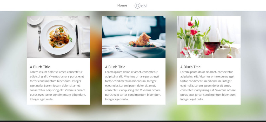 Three column blurbs in DIVI